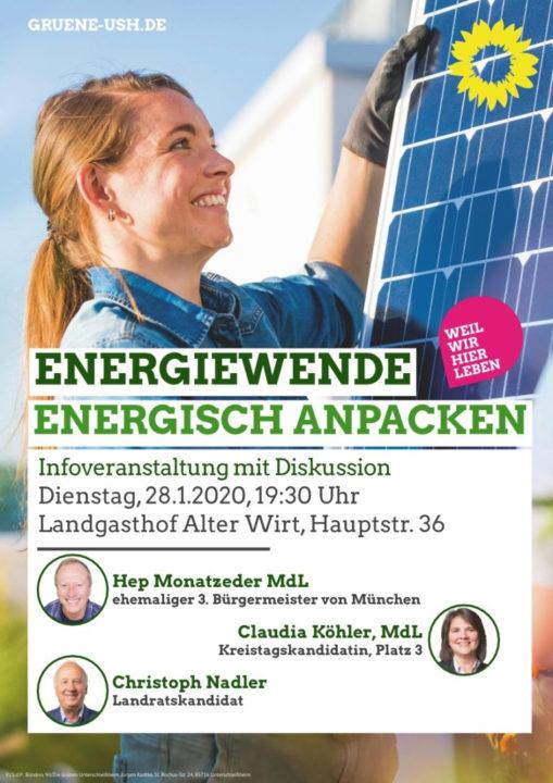 Hep Monatzeder MdL Plakat Diskussion Grüne Unterschleißheim Energiewende